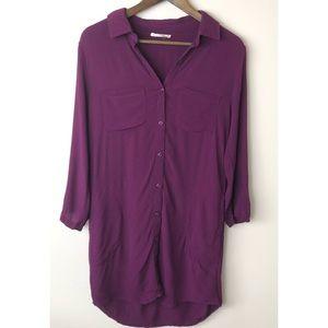 Entro Roll Tab Sleeve Tunic Shirtdress